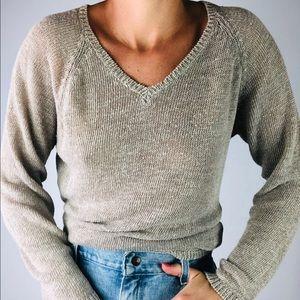 VINTAGE GAP | Linen Beige V Neck Oversized Sweater